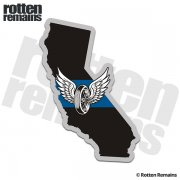 California Highway Patrol State Thin Blue Line Decal Winged Wheel Sticker