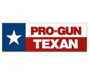 "Pro Gun Texan Bumper Sticker 9""x3"" Texas State Flag 2nd Amendment 2A Decal"