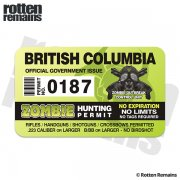 "British Columbia Zombie Hunting Permit 4"" Sticker Decal"