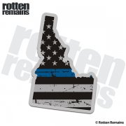 Idaho State Thin Blue Line Decal ID Tattered American Flag Sticker
