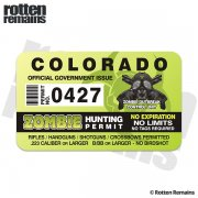 "Colorado Zombie Hunting Permit 4"" Sticker Decal"