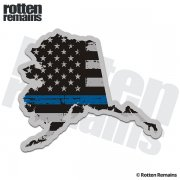 Alaska State Thin Blue Line Decal AK Tattered American Flag Sticker