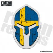 Sweden Flag Spartan Helmet Decal Swedish Swede Norsemen Sticker