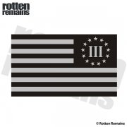 "3 Percenter Nyberg Subdued Flag REFLECTIVE Decal 5""x3"" III 3% Sticker (L)"