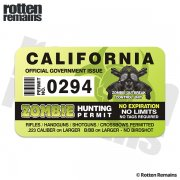 "California Zombie Hunting Permit 4"" Sticker Decal"