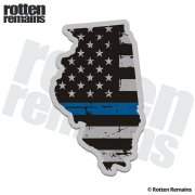 Illinois State Thin Blue Line Decal IL Tattered American Flag Sticker
