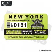"New York Zombie Hunting Permit 4"" Sticker Decal"