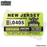 "New Jersey Zombie Hunting Permit 4"" Sticker Decal"