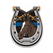 Thin Blue Line Horseshoe Mounted Police Patrol Sticker Decal