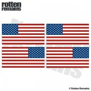 "American Flag REFLECTIVE Decal 3""x1.5"" 4 PACK Mirrored USA Hard Hat Sticker"