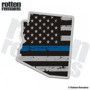 Arizona State Thin Blue Line Decal AZ Tattered American Flag Sticker