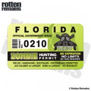 "Florida Zombie Hunting Permit 4"" Sticker Decal"