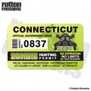 "Connecticut Zombie Hunting Permit 4"" Sticker Decal"