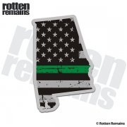 Alabama State Thin Green Line Decal AL Tattered American Flag Sticker
