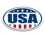 USA American Oval Euro Sticker Decal