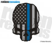 American Subdued Thin Blue Line Flag Skull Sticker Decal