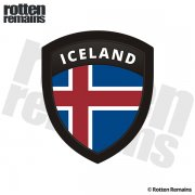 Iceland Flag Icelandic Nordic Shield Badge Sticker Decal