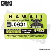 "Hawaii Zombie Hunting Permit 4"" Sticker Decal"