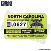 "North Carolina Zombie Hunting Permit 4"" Sticker Decal"