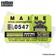 "Maine Zombie Hunting Permit 4"" Sticker Decal"