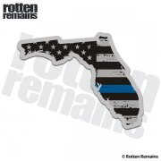 Florida State Thin Blue Line Decal FL Tattered American Flag Sticker