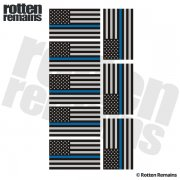 "Thin Blue Line American Subdued Flag REFLECTIVE Decal 2""x1.2"" 8 PACK Sticker"