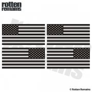 "American Subdued Flag REFLECTIVE Decal 3""x1.5"" 4 PACK Mirrored USA Sticker"