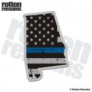 Alabama State Thin Blue Line Decal AL Tattered American Flag Sticker