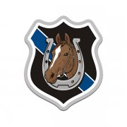 Mounted Police Patrol Chestnut Horse Blue Line Sticker Decal