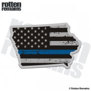 Iowa State Thin Blue Line Decal IA Tattered American Flag Sticker