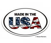 Made In The USA Oval Decal American Flag United States Vinyl Sticker