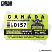 "Canada Zombie Hunting Permit 4"" Sticker Canadian Outbreak Unit Decal"