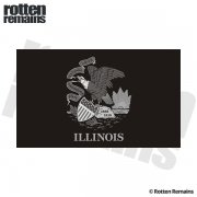Illinois State Subdued Flag Black/Gray Decal IL Vinyl Sticker
