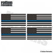 "Thin Blue Line American Subdued Flag REFLECTIVE Decal 3""x1.5"" 4 PACK Sticker"