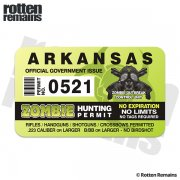 "Arkansas Zombie Hunting Permit 4"" Sticker Decal"