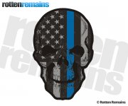 American Subdued Thin Blue Line Flag Skull Sticker Decal V2