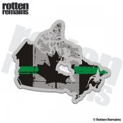 Canada Map Thin Green Line Decal Tattered Canadian Flag Sticker