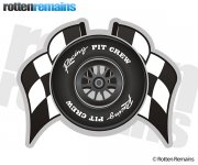 Pit Crew Race Car Tire Checkered Racing Flags Sticker Decal