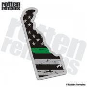 Delaware State Thin Green Line Decal DE Tattered American Flag Sticker
