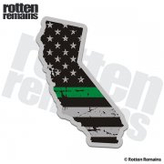 California State Green Line Decal CA Tattered American Flag Sticker