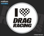 I Love Drag Racing Nitro Checkered Flag Heart Sticker Decal