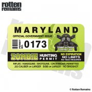 "Maryland Zombie Hunting Permit 4"" Sticker Decal"