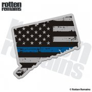 Connecticut State Blue Line Decal CT Tattered American Flag Sticker