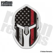 American Flag Thin Red Line Spartan Helmet Decal Firefighter Sticker