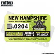 "New Hampshire Zombie Hunting Permit 4"" Sticker Decal"