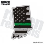 Indiana State Thin Green Line Decal IN Tattered American Flag Sticker