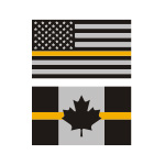 Thin Gold Line Flag Stickers