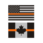 Thin Orange Line Flag Stickers