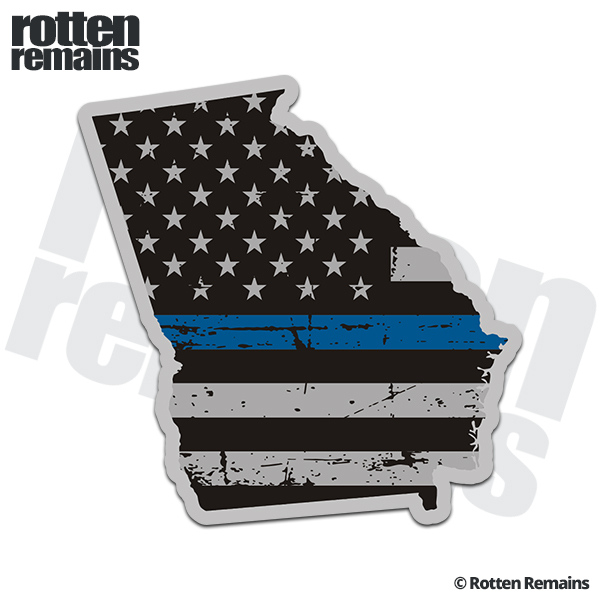 Georgia State Thin Blue Line Decal GA Tattered American Flag Sticker - Click image to close