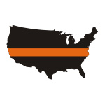 Thin Orange Line USA / State Stickers
